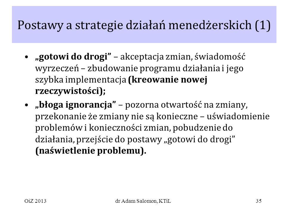 Postawy a strategie działań menedżerskich (1)