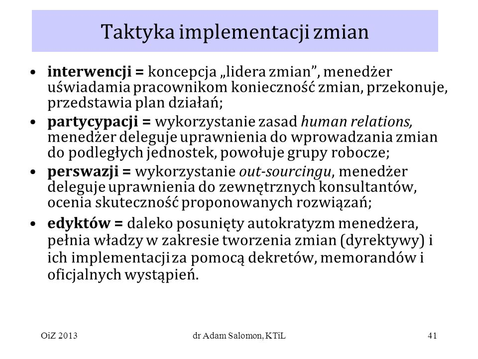 Taktyka implementacji zmian