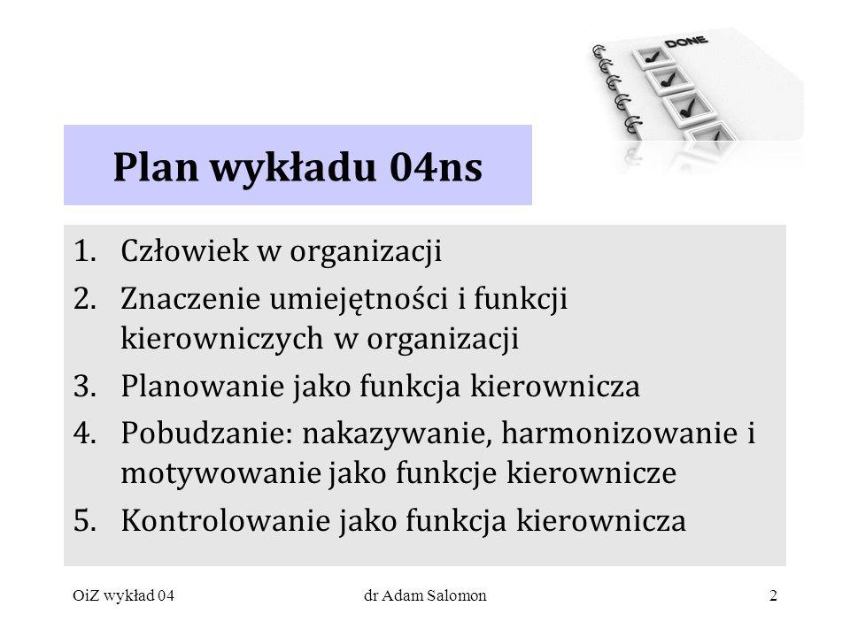 Plan wykładu 04ns Człowiek w organizacji