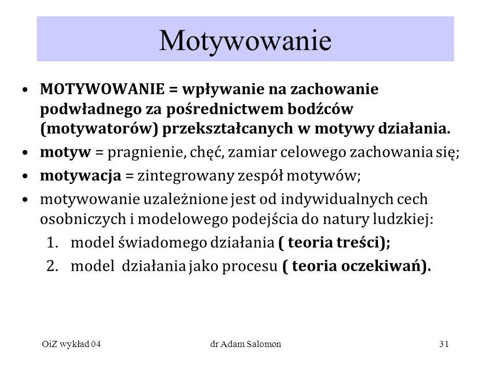 Motywowanie MOTYWOWANIE = wpływanie na zachowanie podwładnego za pośrednictwem bodźców (motywatorów) przekształcanych w motywy działania.
