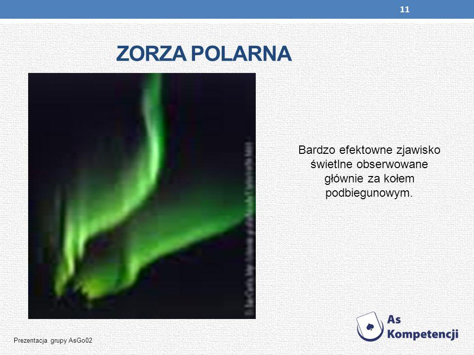 ZORZA POLARNA Bardzo efektowne zjawisko świetlne obserwowane głównie za kołem podbiegunowym.
