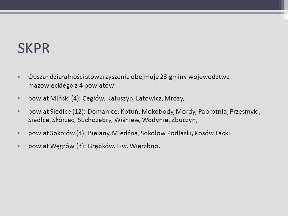 SKPR Obszar działalności stowarzyszenia obejmuje 23 gminy województwa mazowieckiego z 4 powiatów: