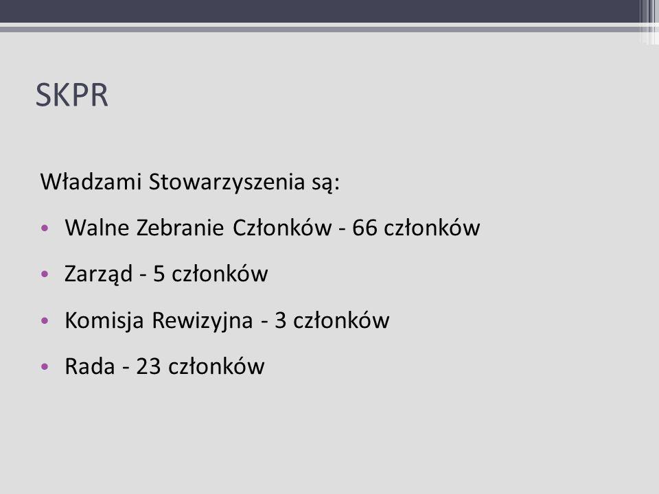 SKPR Władzami Stowarzyszenia są: Walne Zebranie Członków - 66 członków