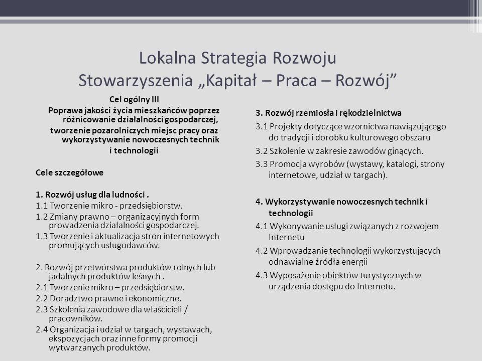 """Lokalna Strategia Rozwoju Stowarzyszenia """"Kapitał – Praca – Rozwój"""