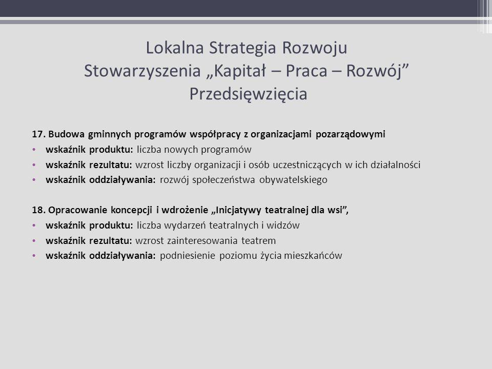 """Lokalna Strategia Rozwoju Stowarzyszenia """"Kapitał – Praca – Rozwój Przedsięwzięcia"""