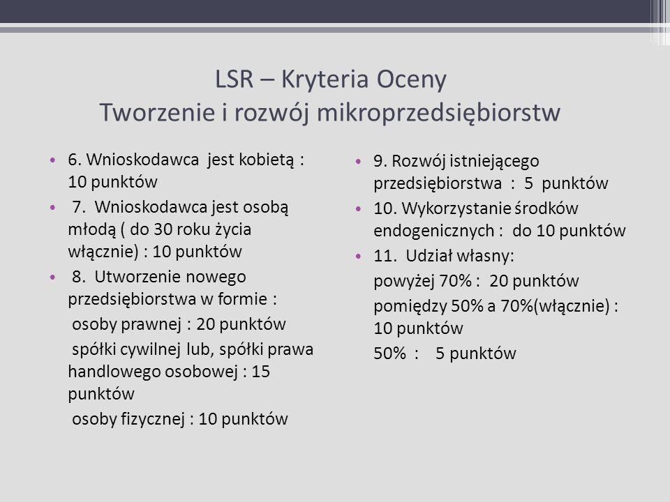 LSR – Kryteria Oceny Tworzenie i rozwój mikroprzedsiębiorstw