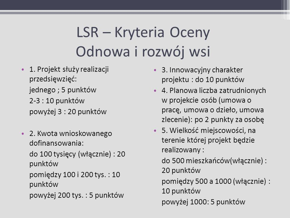 LSR – Kryteria Oceny Odnowa i rozwój wsi