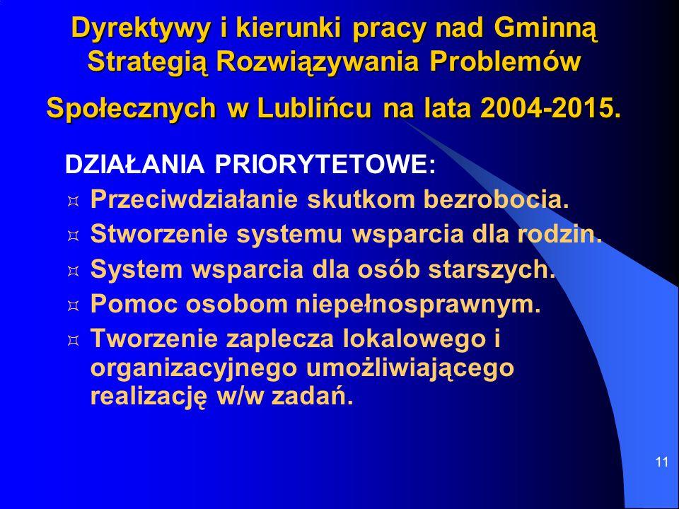 Dyrektywy i kierunki pracy nad Gminną Strategią Rozwiązywania Problemów Społecznych w Lublińcu na lata 2004-2015.