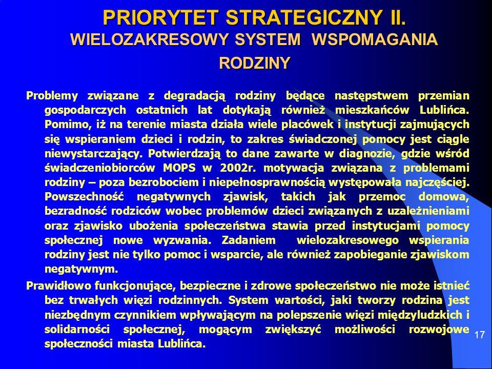 PRIORYTET STRATEGICZNY II. WIELOZAKRESOWY SYSTEM WSPOMAGANIA RODZINY