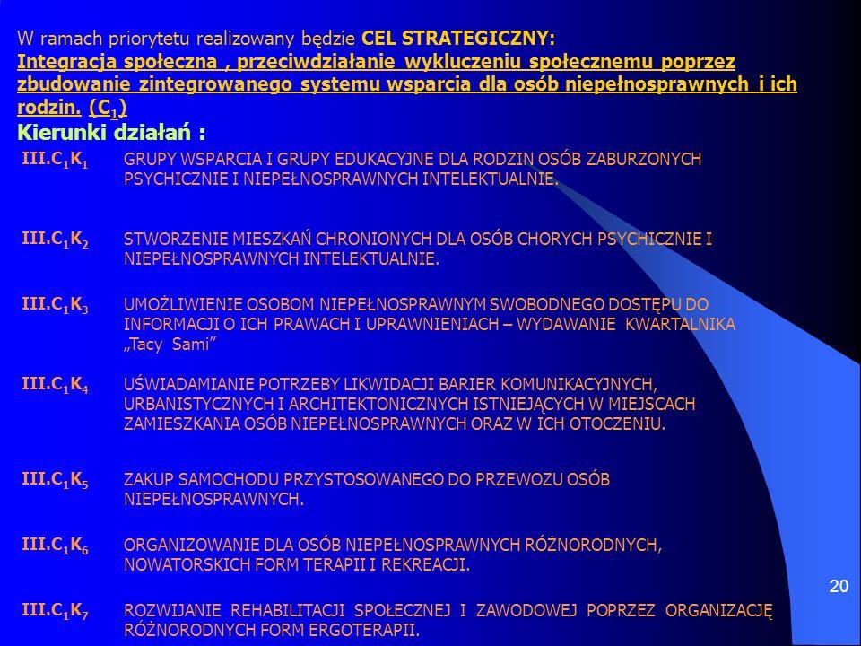 W ramach priorytetu realizowany będzie CEL STRATEGICZNY: