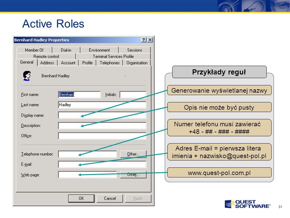 Active Roles Przykłady reguł Generowanie wyświetlanej nazwy