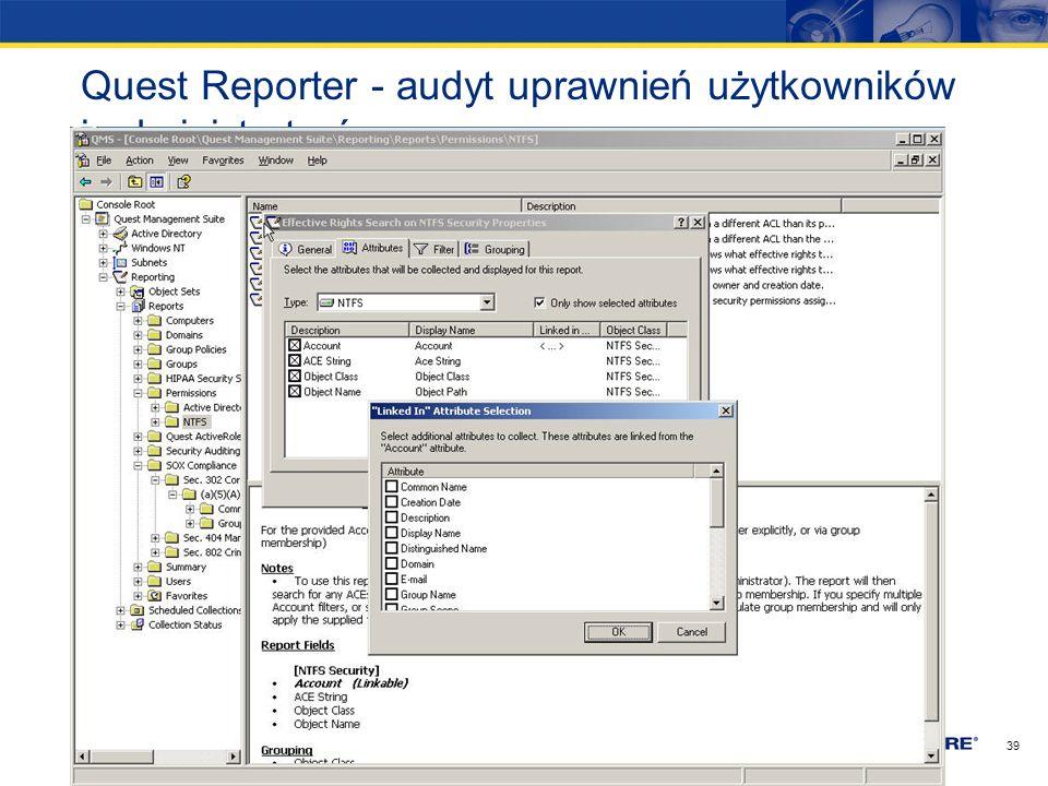 Quest Reporter - audyt uprawnień użytkowników i administratorów