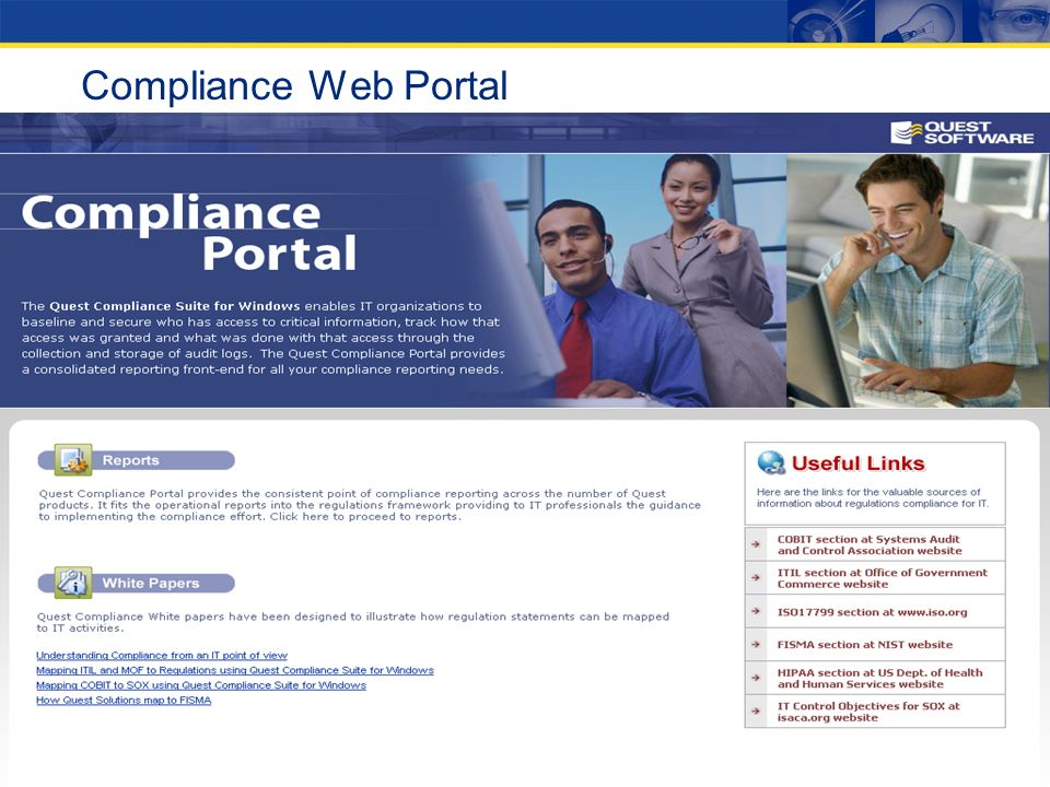 Compliance Web Portal Screen shot