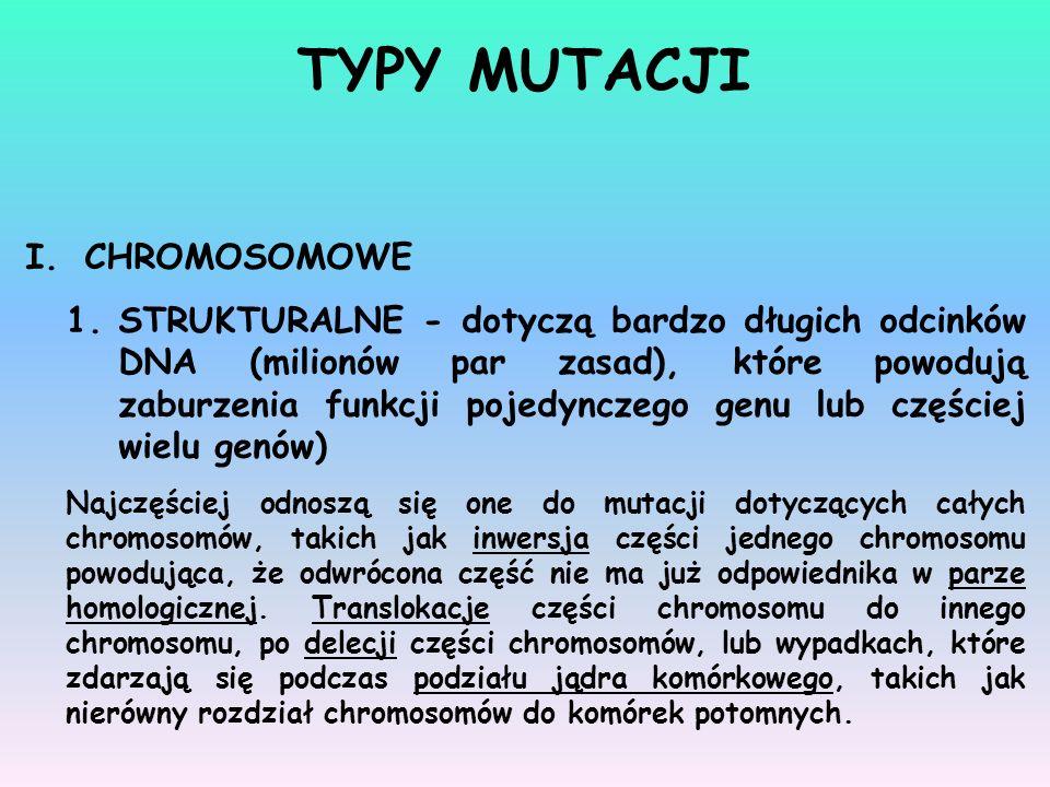 TYPY MUTACJI CHROMOSOMOWE