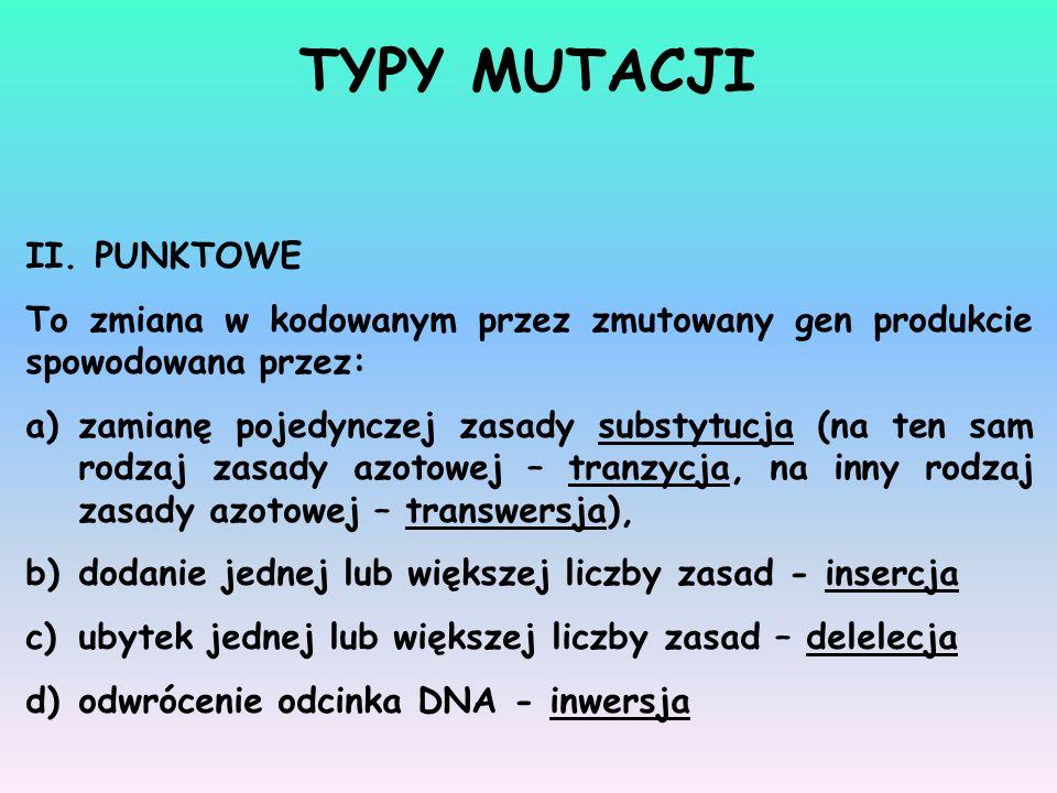 TYPY MUTACJI II. PUNKTOWE