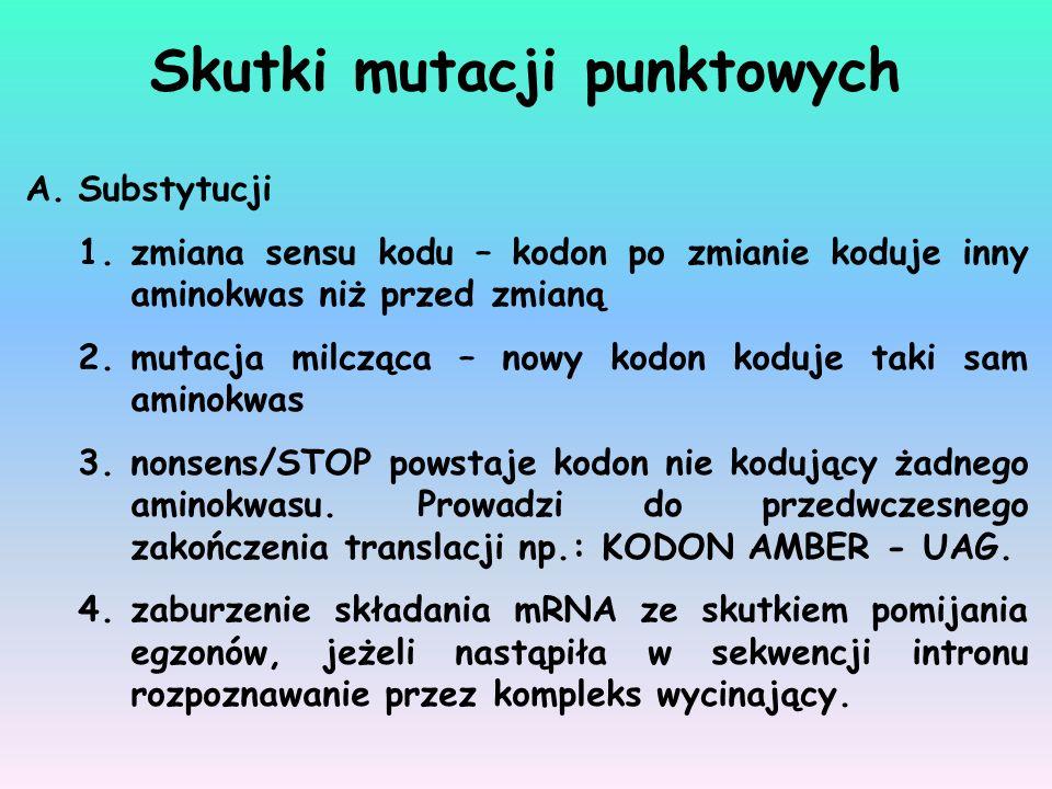 Skutki mutacji punktowych
