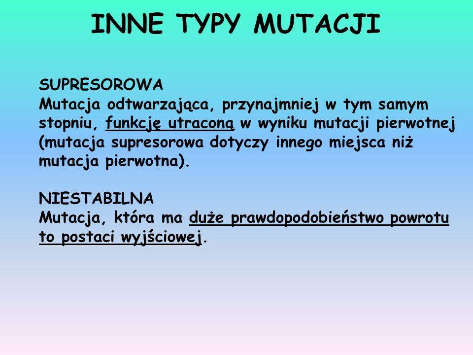INNE TYPY MUTACJI SUPRESOROWA