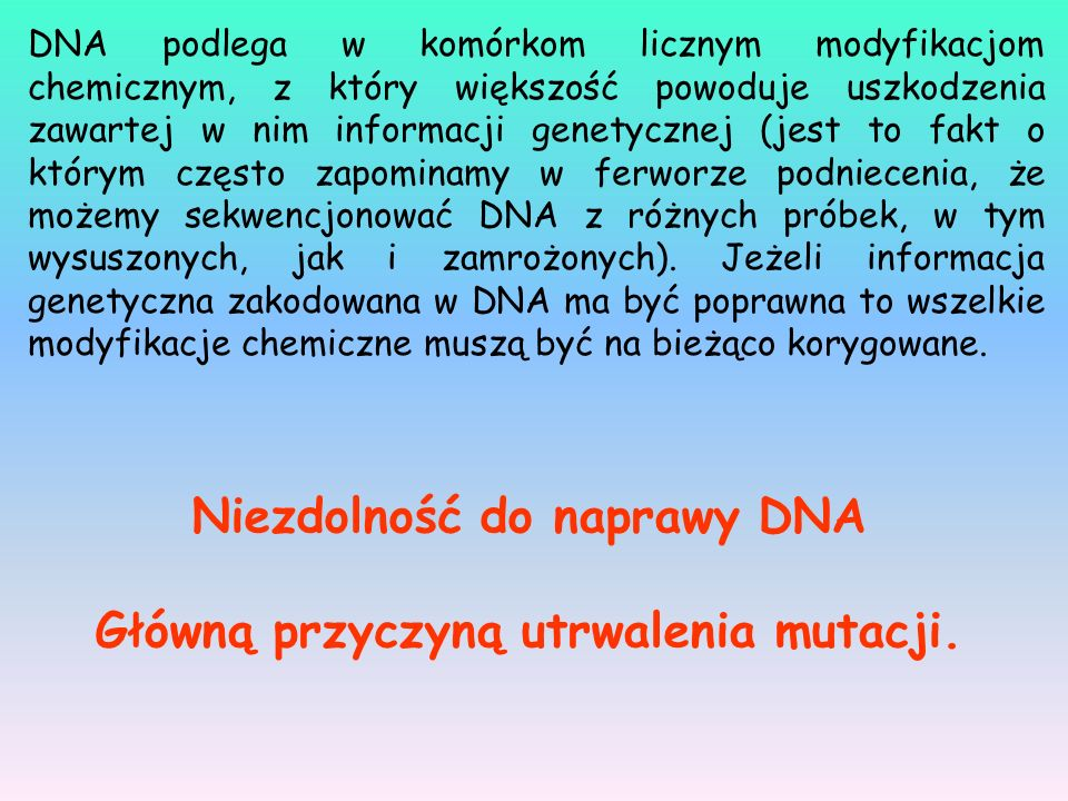 Niezdolność do naprawy DNA