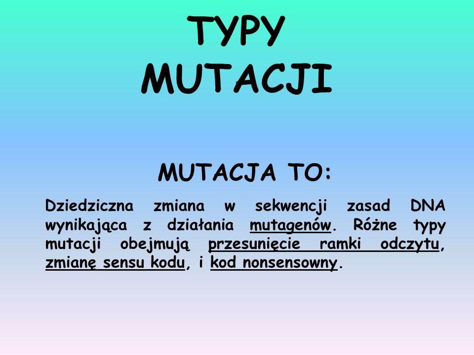 TYPY MUTACJI MUTACJA TO: