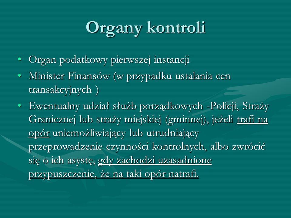Organy kontroli Organ podatkowy pierwszej instancji