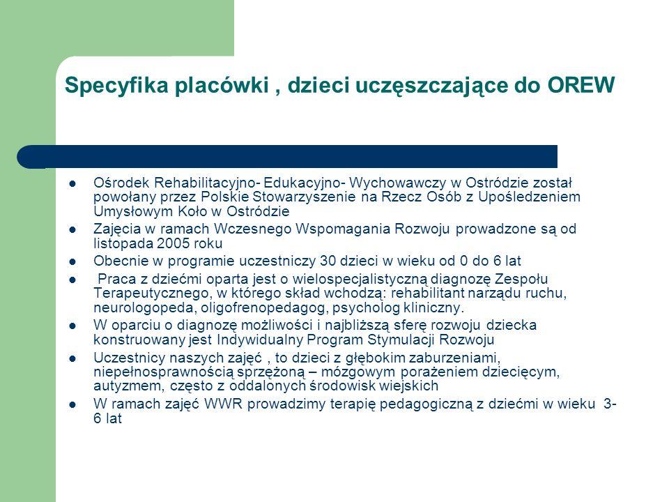 Specyfika placówki , dzieci uczęszczające do OREW