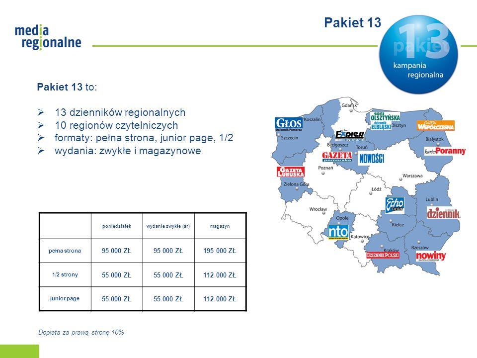 Pakiet 13 Pakiet 13 to: 13 dzienników regionalnych