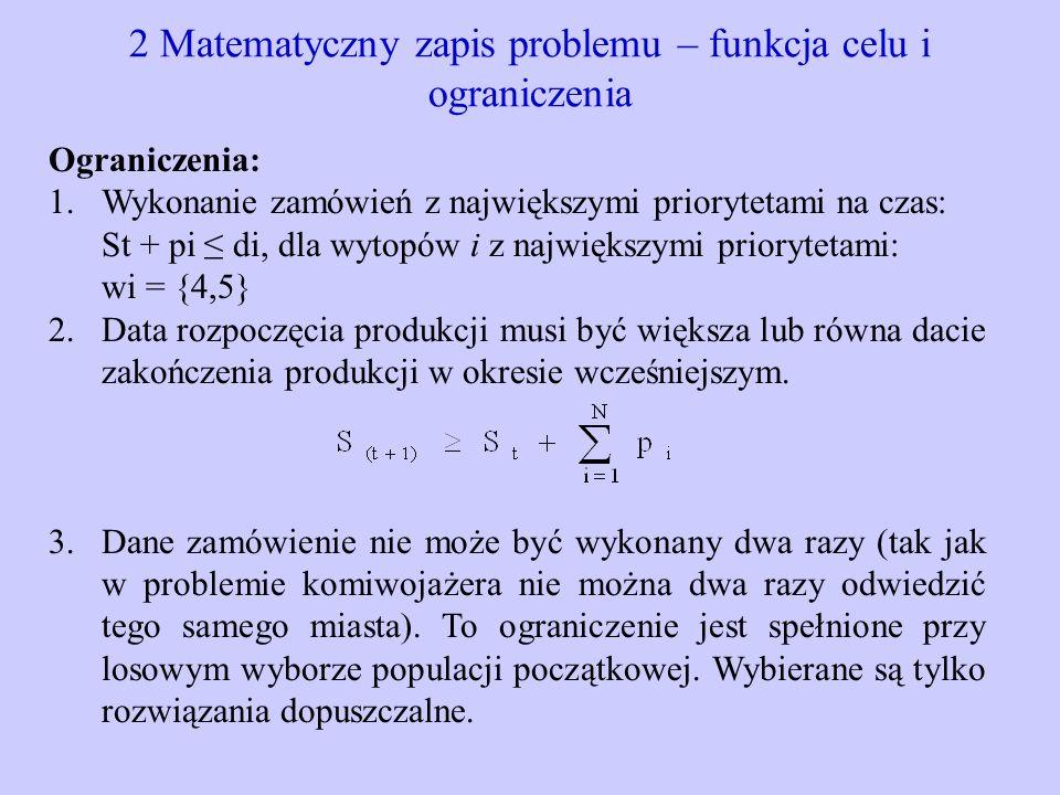 2 Matematyczny zapis problemu – funkcja celu i ograniczenia