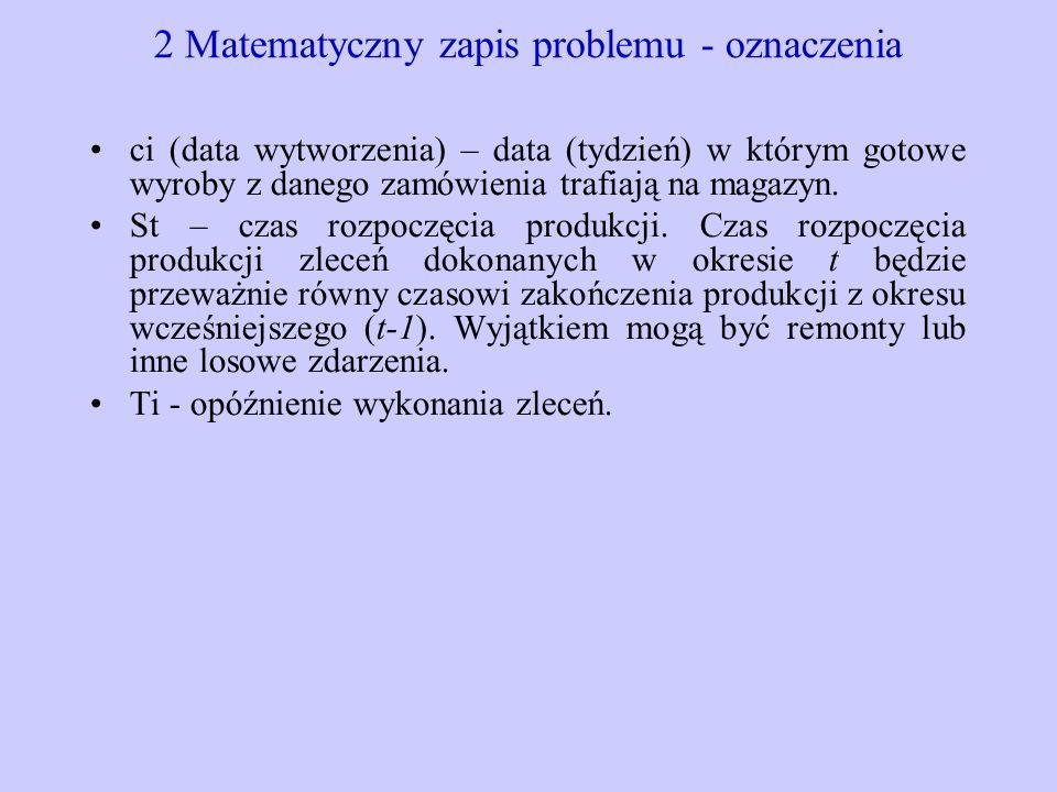 2 Matematyczny zapis problemu - oznaczenia