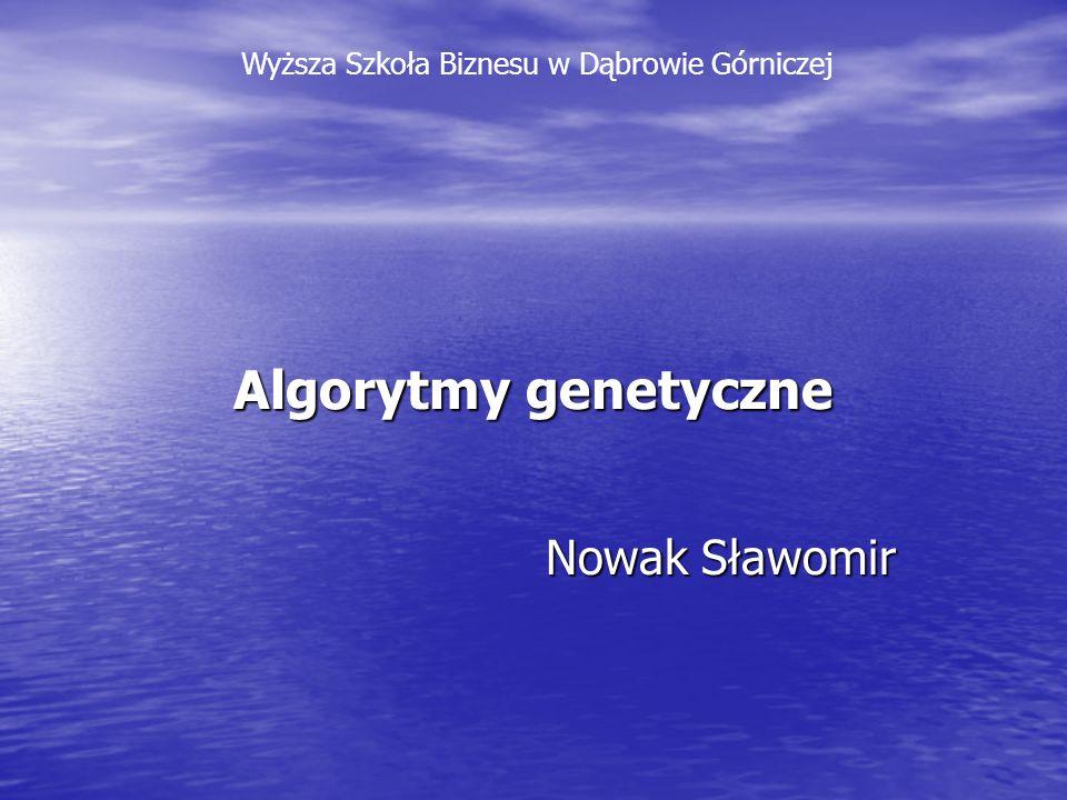Algorytmy genetyczne Nowak Sławomir