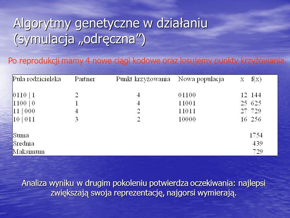 """Algorytmy genetyczne w działaniu (symulacja """"odręczna )"""