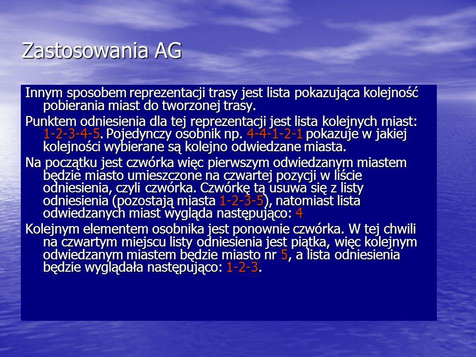 Zastosowania AG Innym sposobem reprezentacji trasy jest lista pokazująca kolejność pobierania miast do tworzonej trasy.
