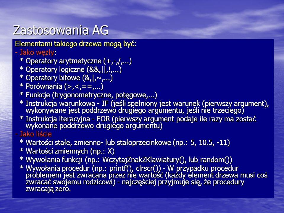 Zastosowania AG Elementami takiego drzewa mogą być: - Jako węzły: