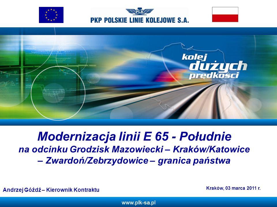 ZModernizacja linii E 65 - Południe na odcinku Grodzisk Mazowiecki – Kraków/Katowice – Zwardoń/Zebrzydowice – granica państwa.