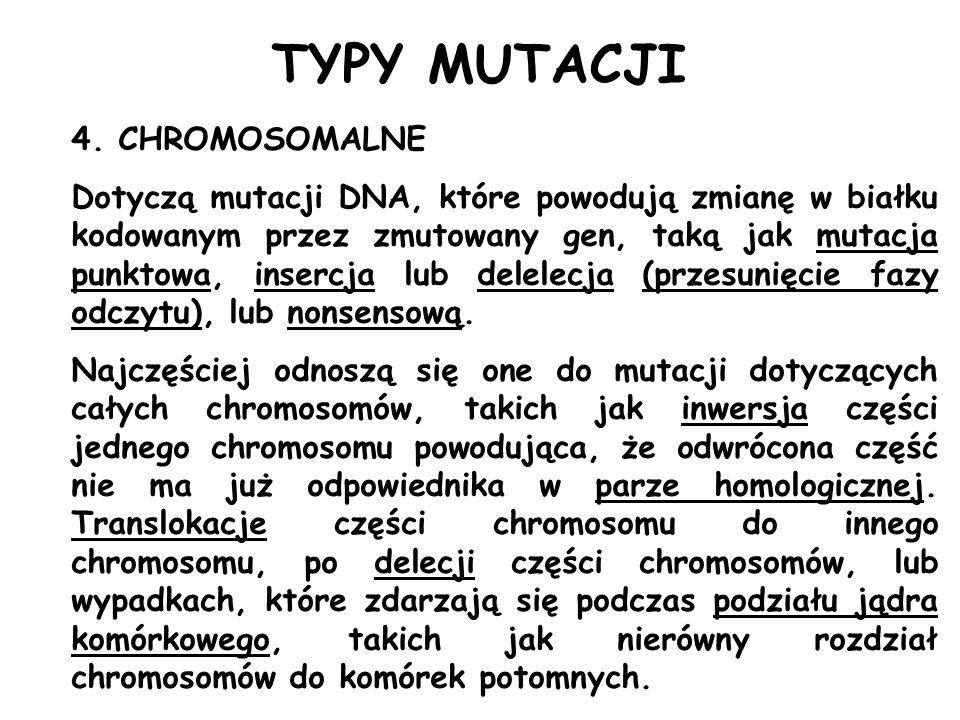 TYPY MUTACJI 4. CHROMOSOMALNE