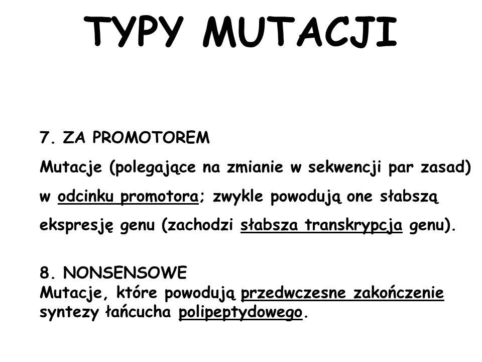 TYPY MUTACJI 7. ZA PROMOTOREM