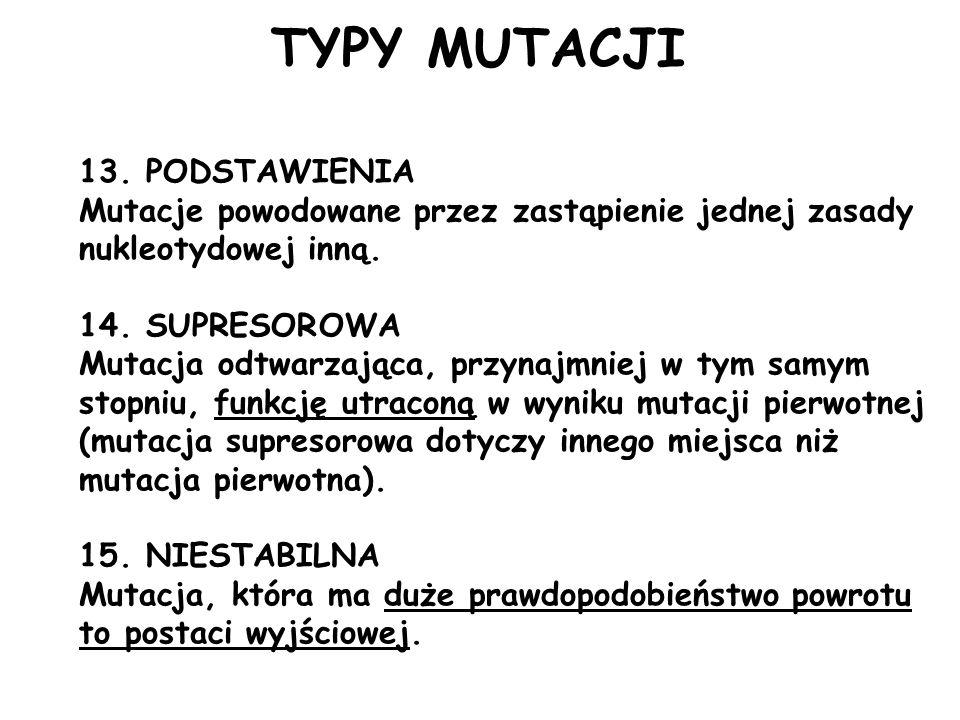 TYPY MUTACJI 13. PODSTAWIENIA