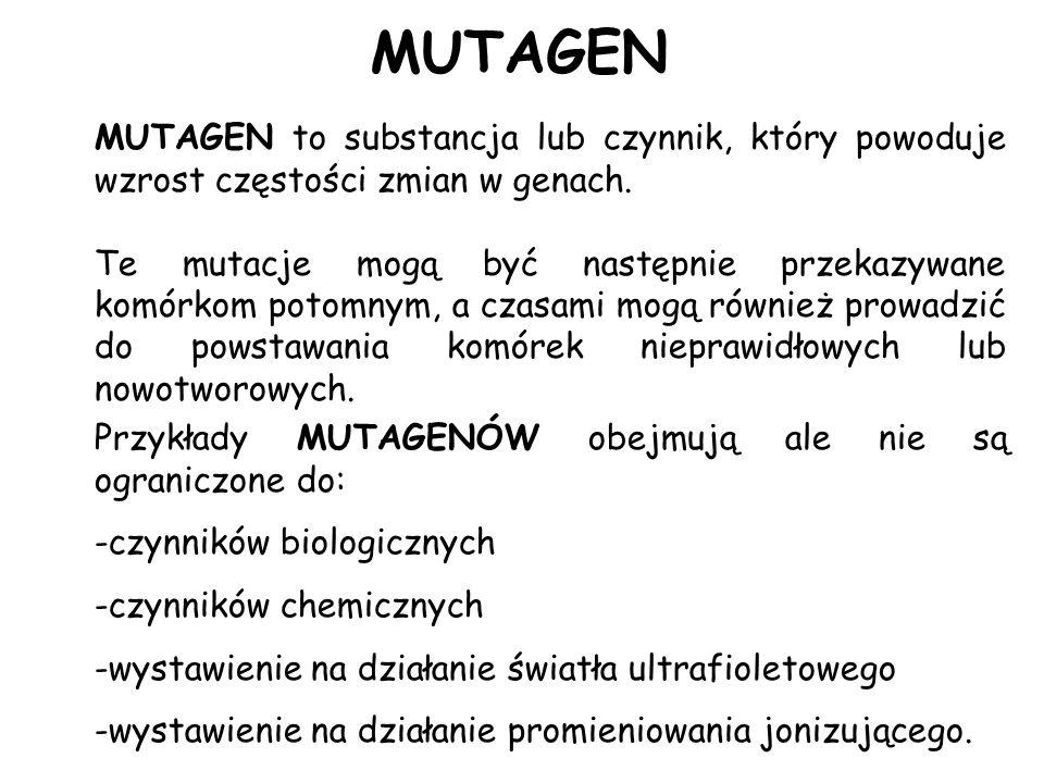 MUTAGENMUTAGEN to substancja lub czynnik, który powoduje wzrost częstości zmian w genach.