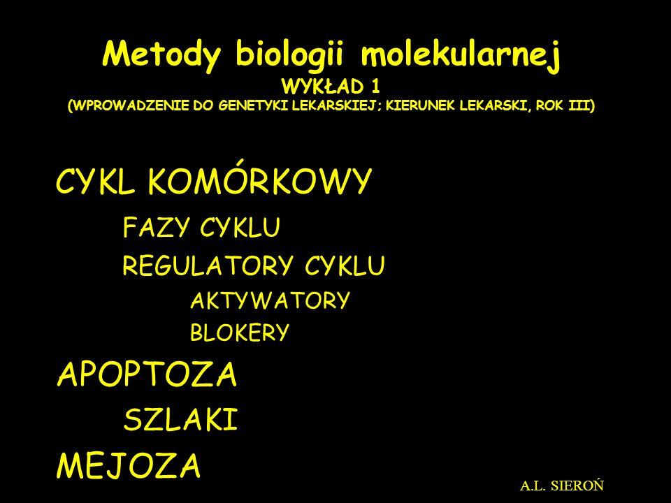 Metody biologii molekularnej WYKŁAD 1 (WPROWADZENIE DO GENETYKI LEKARSKIEJ; KIERUNEK LEKARSKI, ROK III)