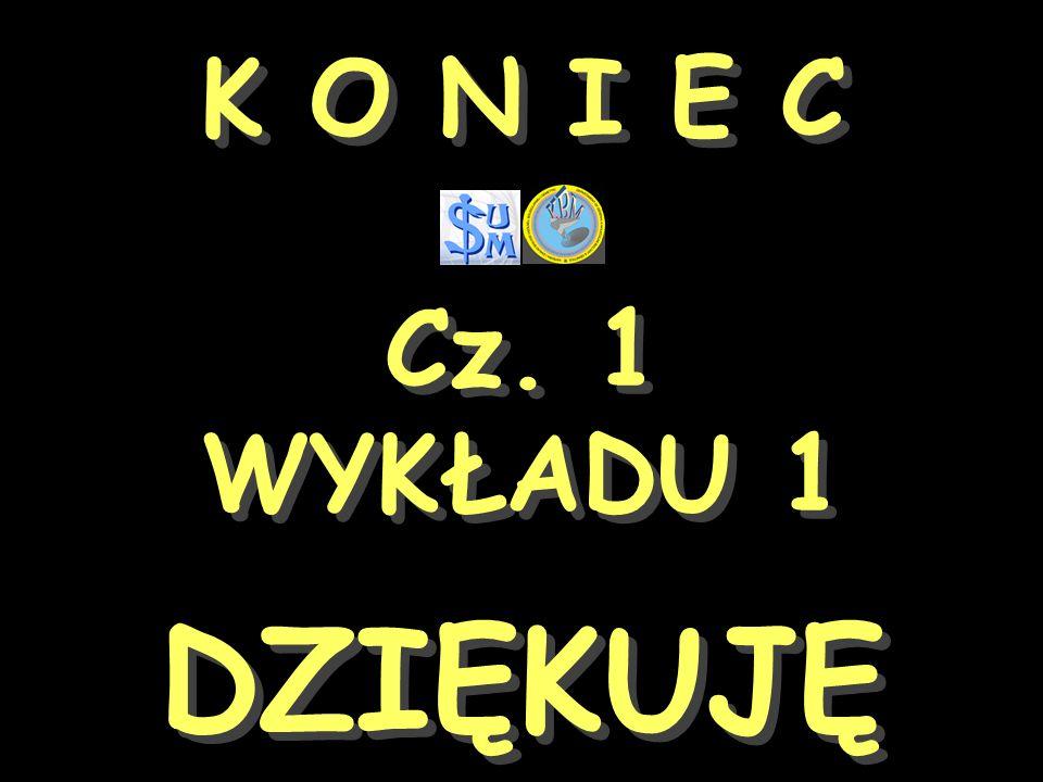 K O N I E C Cz. 1 WYKŁADU 1 DZIĘKUJĘ