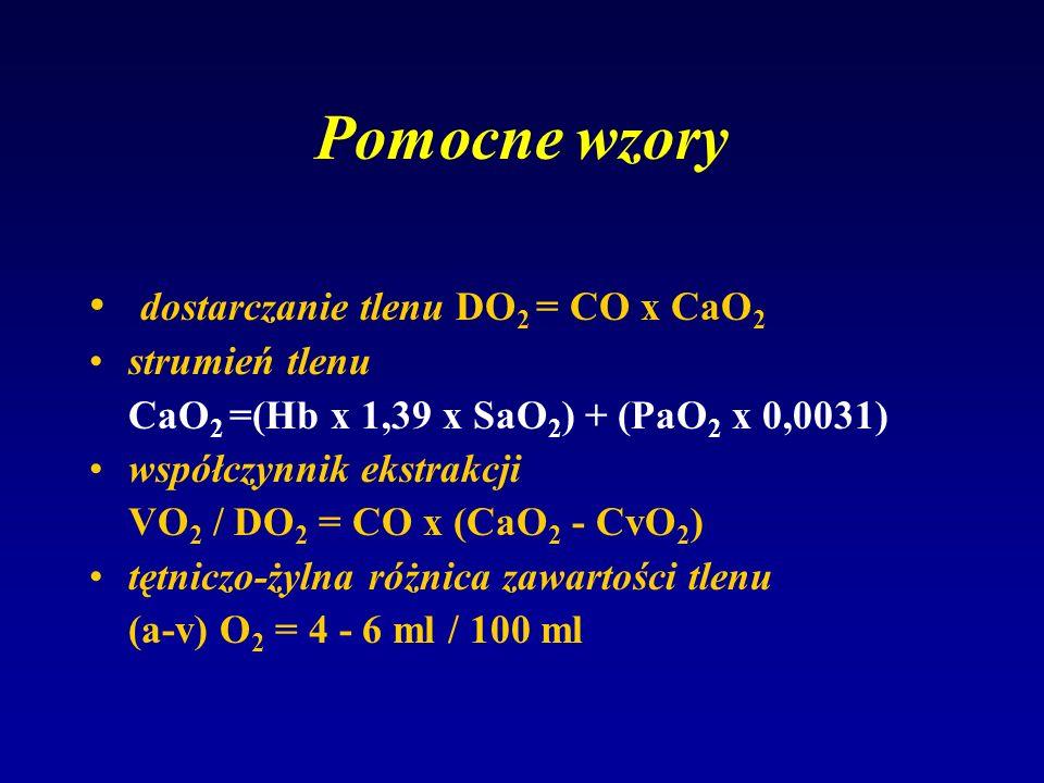 Pomocne wzory dostarczanie tlenu DO2 = CO x CaO2 strumień tlenu