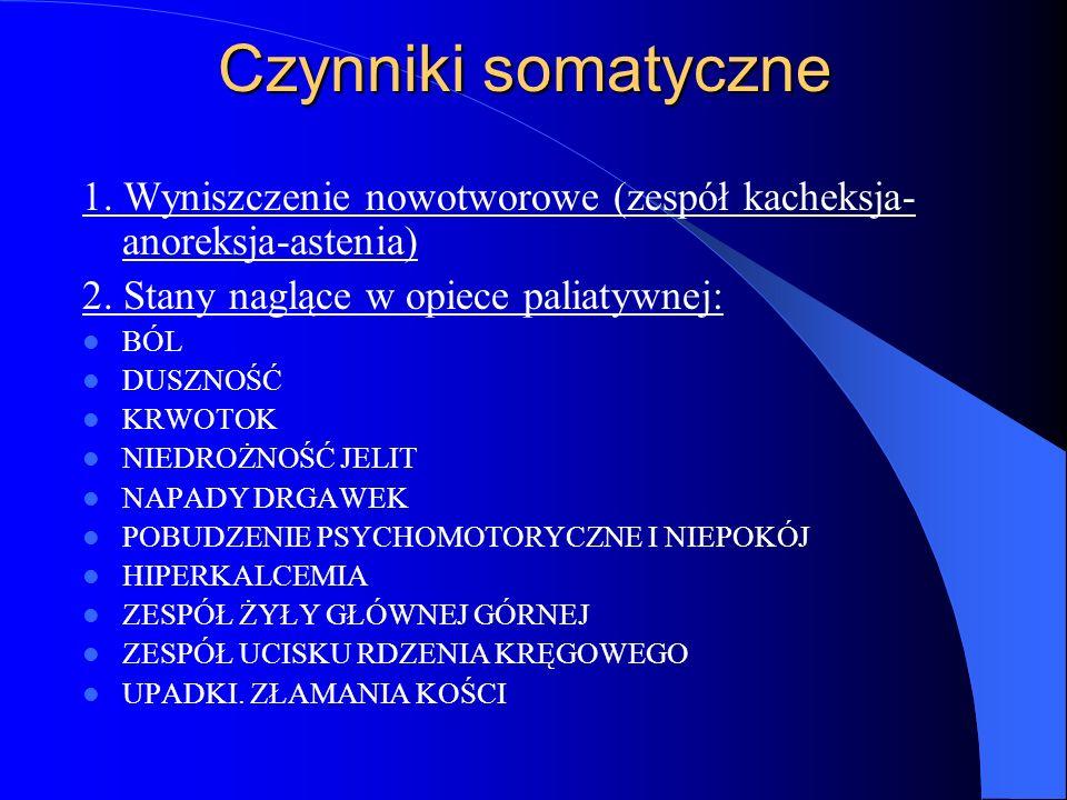 Czynniki somatyczne 1. Wyniszczenie nowotworowe (zespół kacheksja-anoreksja-astenia) 2. Stany naglące w opiece paliatywnej: