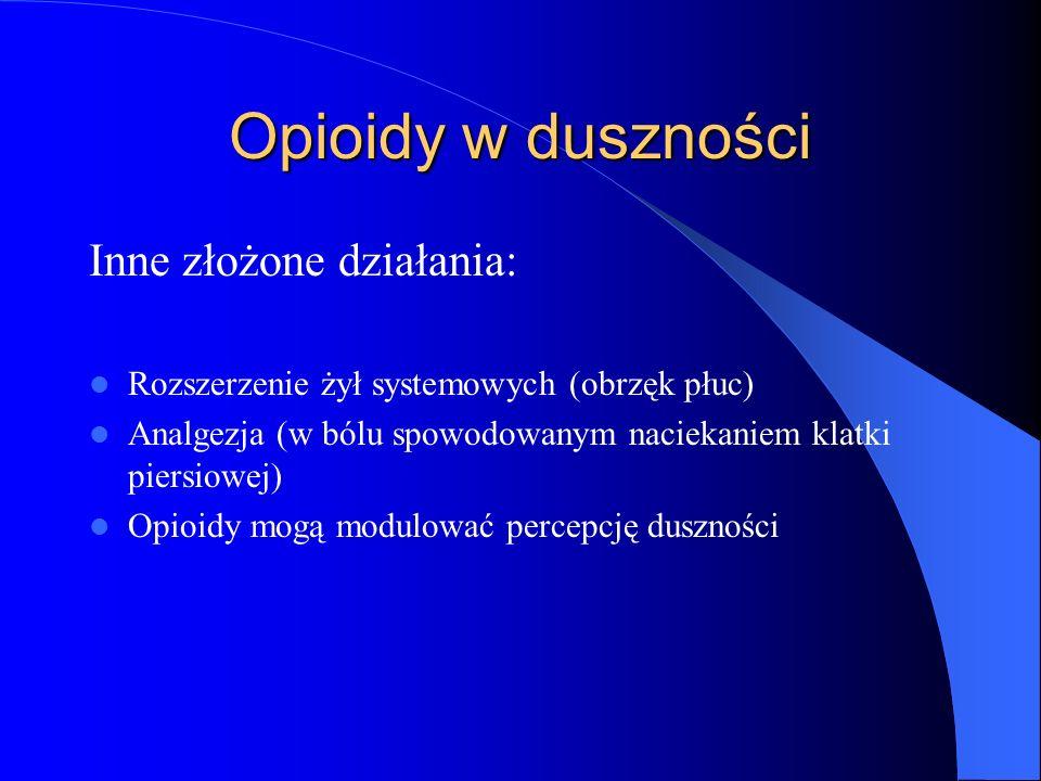 Opioidy w duszności Inne złożone działania: