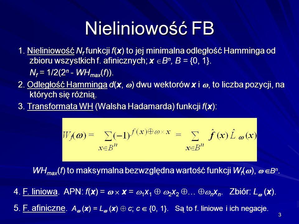 Nieliniowość FB 1. Nieliniowość Nf funkcji f(x) to jej minimalna odległość Hamminga od zbioru wszystkich f. afinicznych; x Bn, B = {0, 1}.