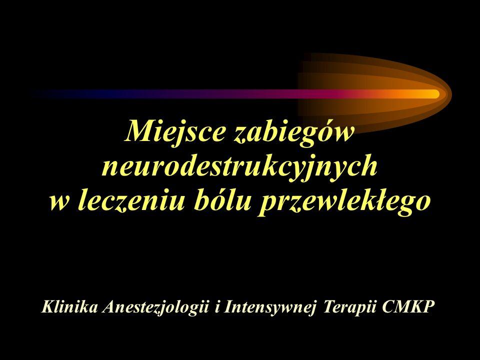 Miejsce zabiegów neurodestrukcyjnych w leczeniu bólu przewlekłego