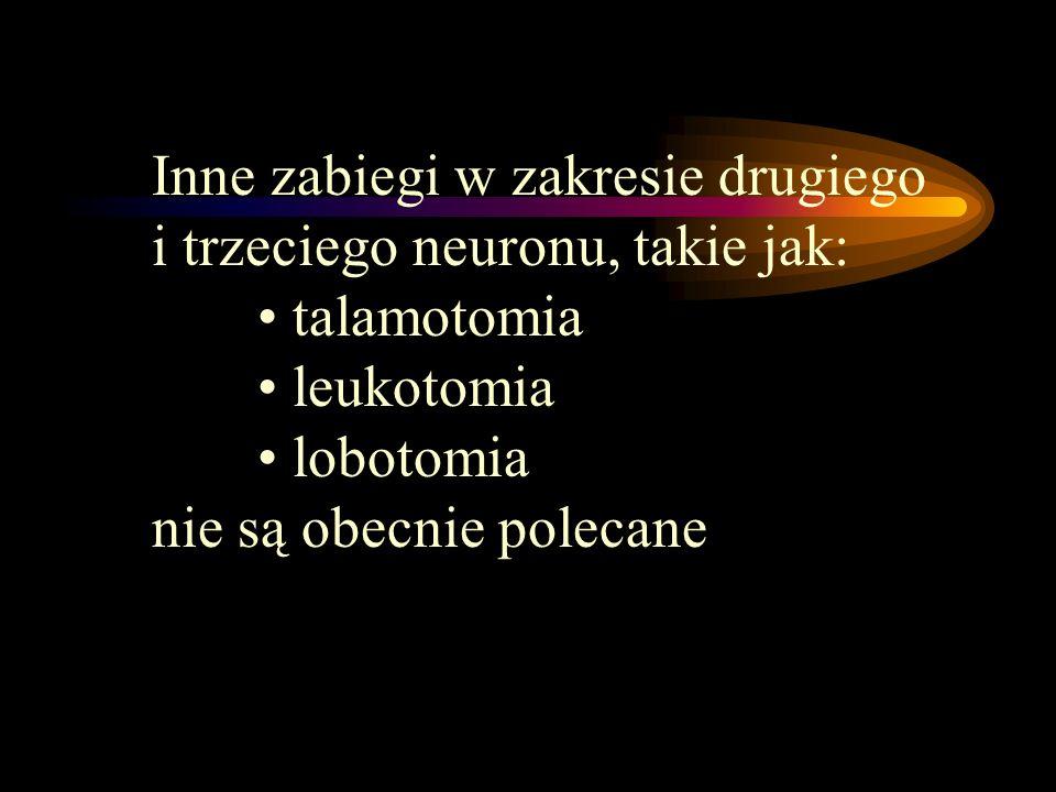 Inne zabiegi w zakresie drugiego i trzeciego neuronu, takie jak: