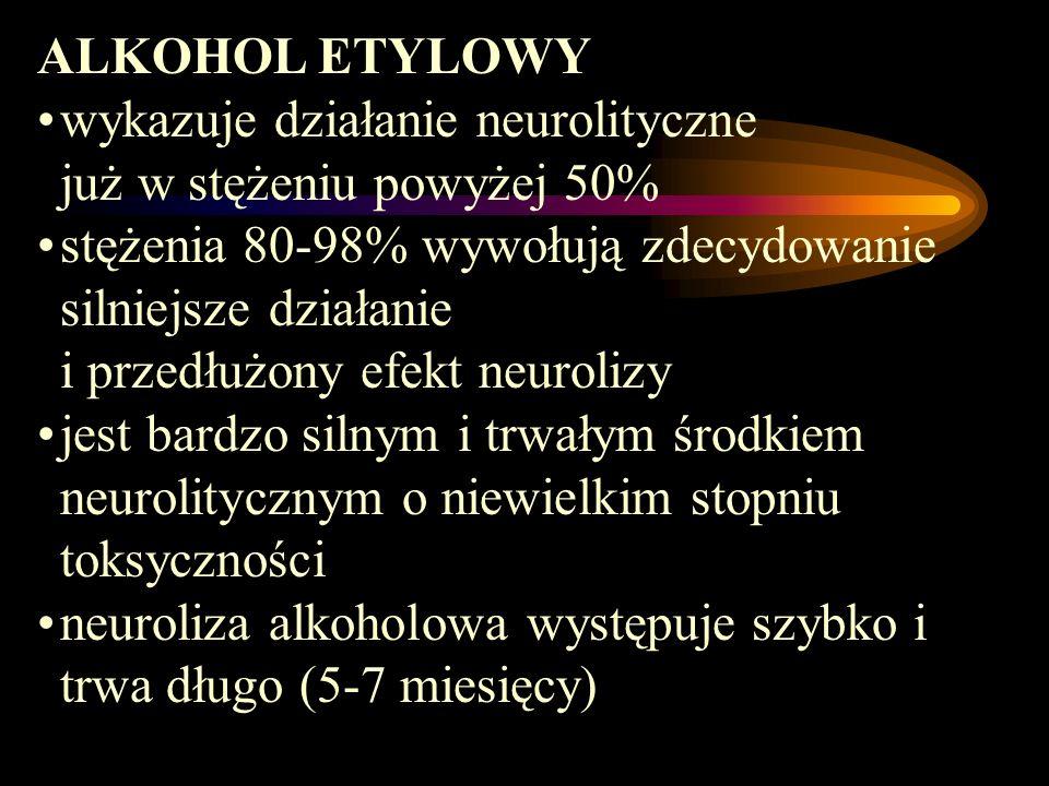 ALKOHOL ETYLOWYwykazuje działanie neurolityczne już w stężeniu powyżej 50%