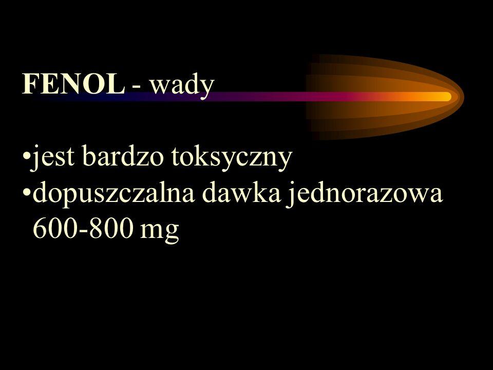 FENOL - wady jest bardzo toksyczny dopuszczalna dawka jednorazowa 600-800 mg