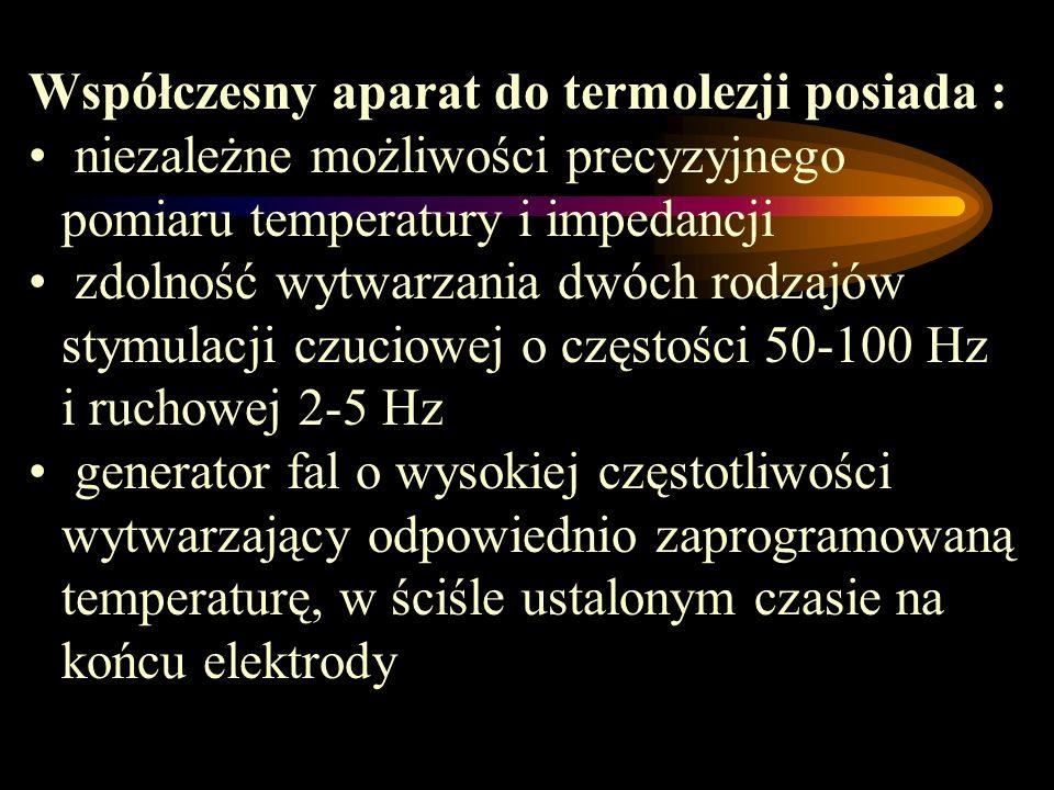 Współczesny aparat do termolezji posiada :