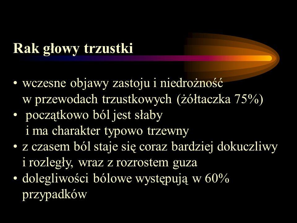 Rak głowy trzustkiwczesne objawy zastoju i niedrożność w przewodach trzustkowych (żółtaczka 75%)