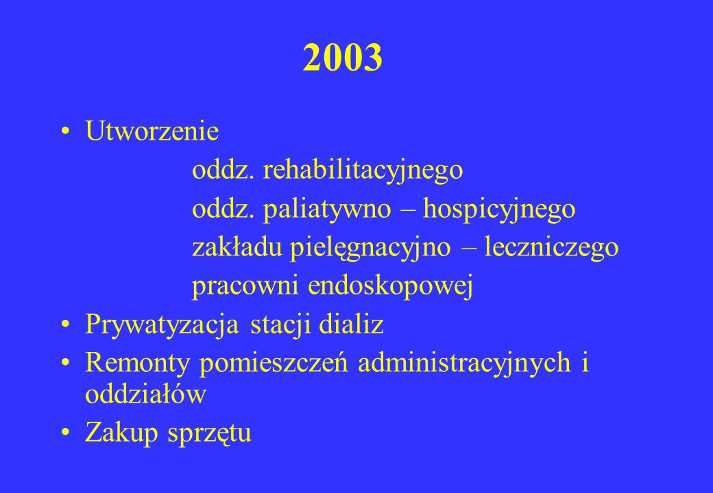 2003 Utworzenie oddz. rehabilitacyjnego